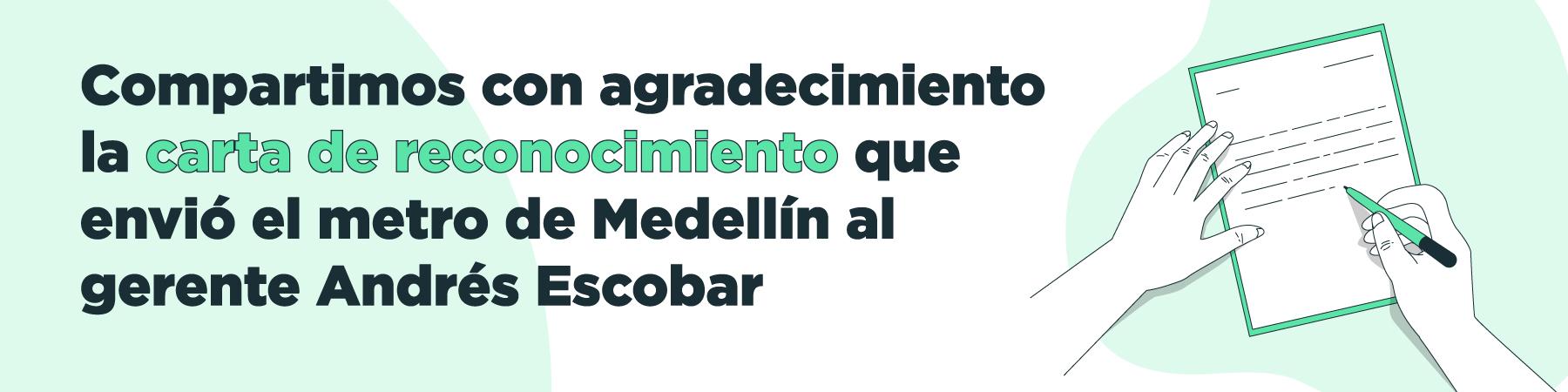 Carta de reconocimiento al gerente Andrés Escobar